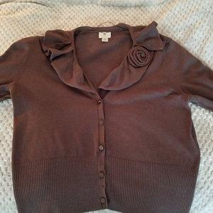 Brown short sleeve cardigan